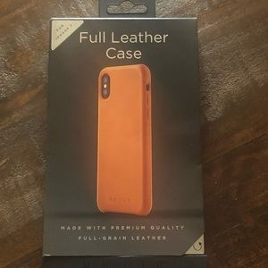 Mujjo IPHONE X Full Leather Case New in Box Brown